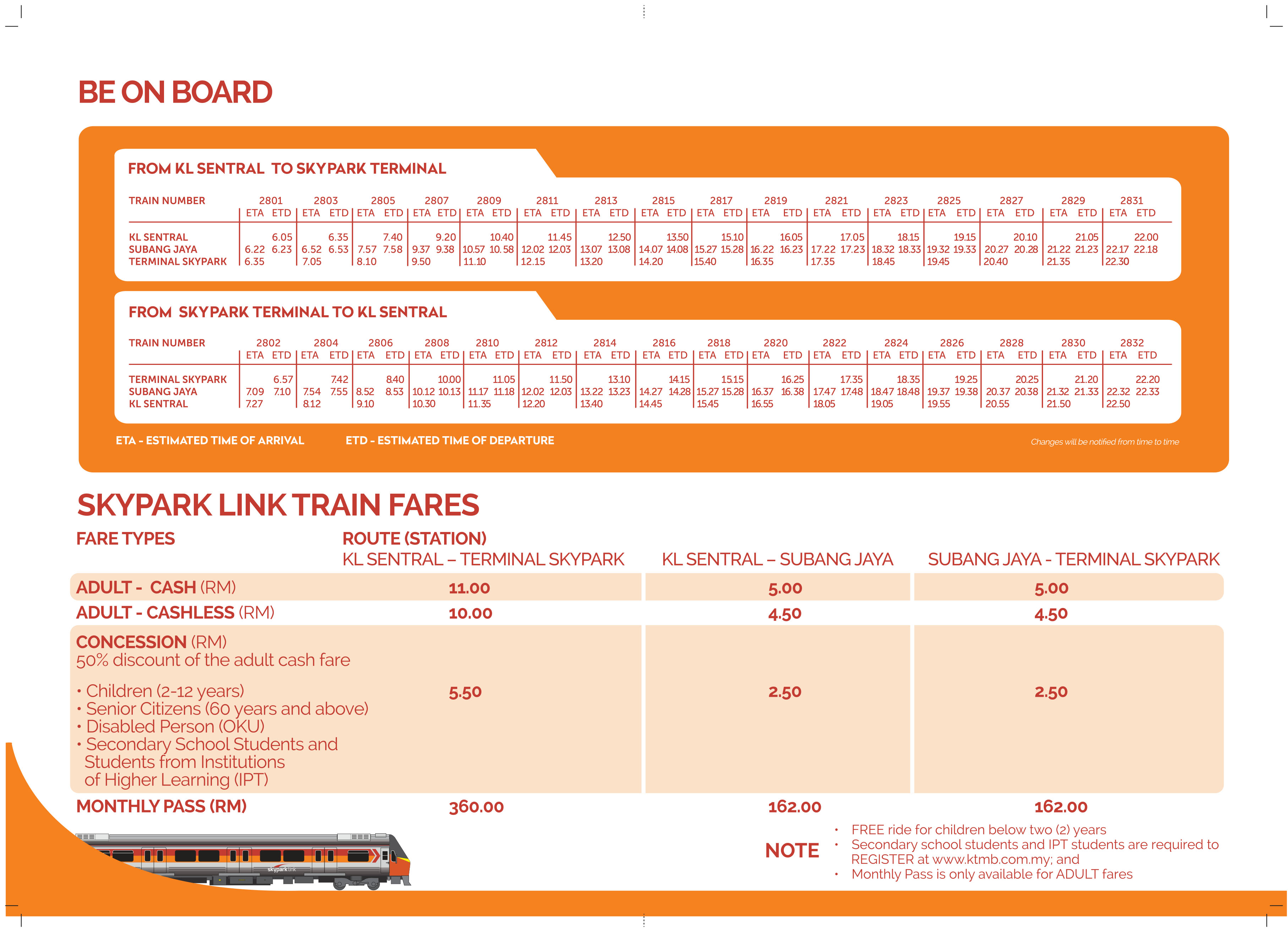 Looking for the Skypark Link service route & timetable? Check out the Skypark Link route & timetable throughout Malaysia and the station in between from our website